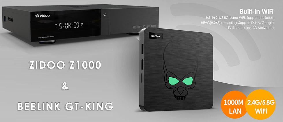 В продаже новинки! IPTV приставки Zidoo Z1000 и Beelink GT-King