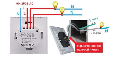 Выключатель на две зоны Sonoff T1 Wi-Fi