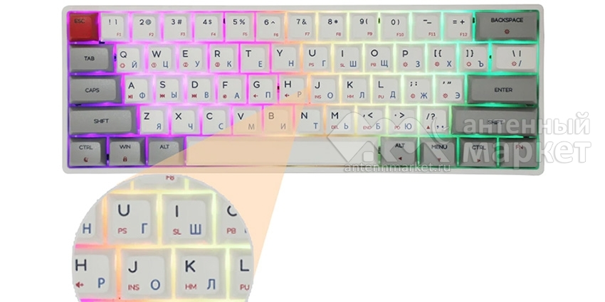 Клавиатура Skyloong SK61 Blue Switch с подсветкой