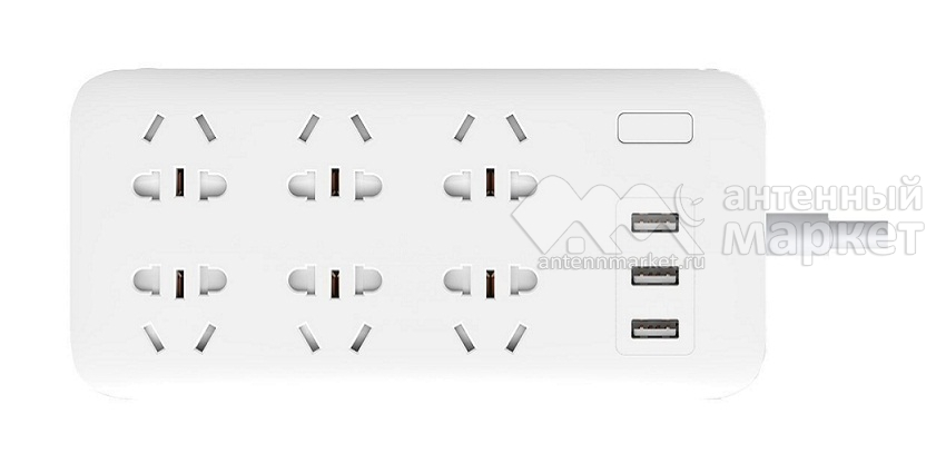 Удлинитель Xiaomi Mi Power Strip 6 розеток + 3 USB, белый