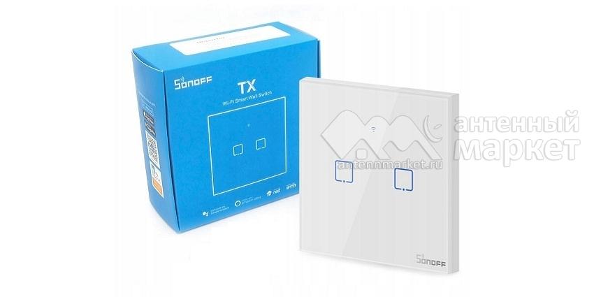 Выключатель на две зоны Sonoff T1 Wi-Fi (T1EU2C) new